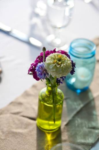 Vintage glassware for seasonal flowers