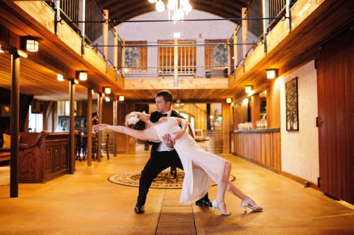 Bride and Groom practice their first dance