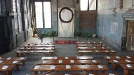 Ceremony with benches at Basilica Hudson