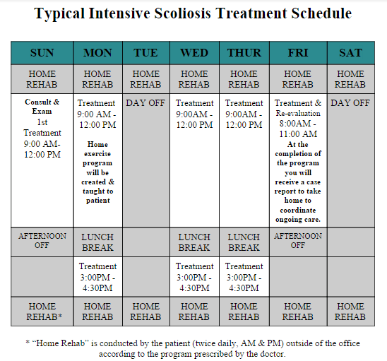 Scoliosis Intensive Schedule