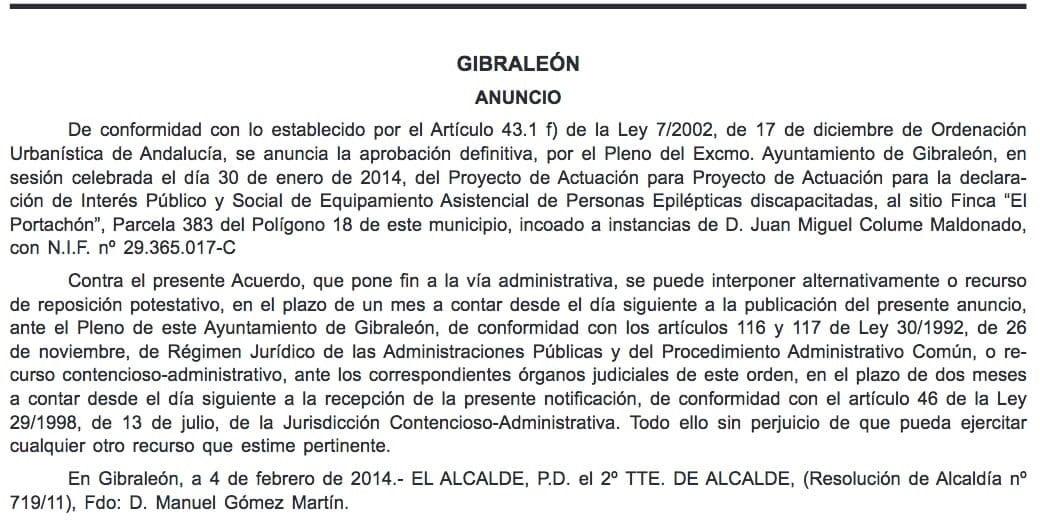 Acuerdo Ayuntamiento de Gibraleón recalificando una parcela para el mismo proyecto y persona que ahora se quiere hacer en Aljaraque.