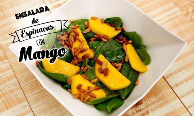 Receta de Karlos Arguiñano de ensalada de espinacas con mango