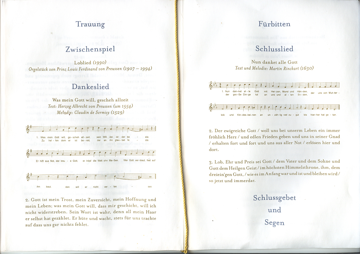 Dokument zur Trauung von Sophie und Georg Friedrich