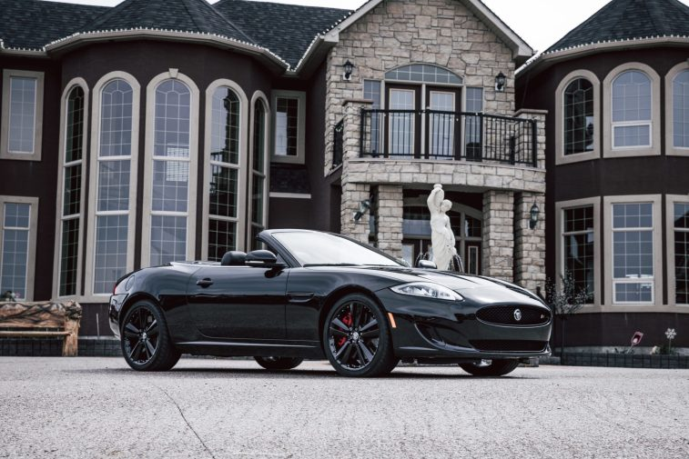 mansion with a car outside
