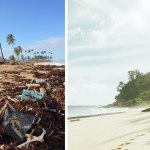 A Beach with and without Plastic