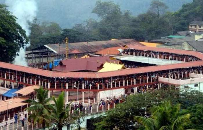 Top view of a packed Sabarimala temple in Pathanamthitta