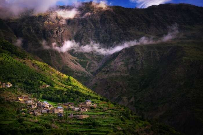 A village tucked in the hills near Rohtang Pass