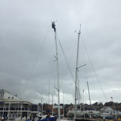 Mary checking the mast for any damage