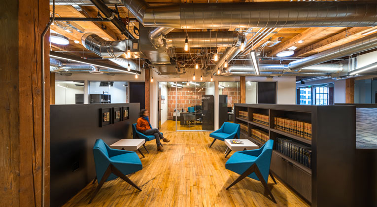 Spaces We Love NoonanLances Industrial Chic Office Hughes Marino San Diego