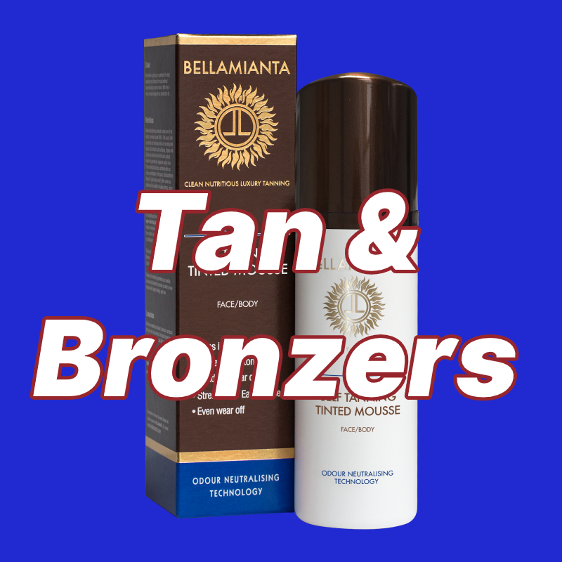 Bellamianta Tan with Tan & Bronzers text overlay