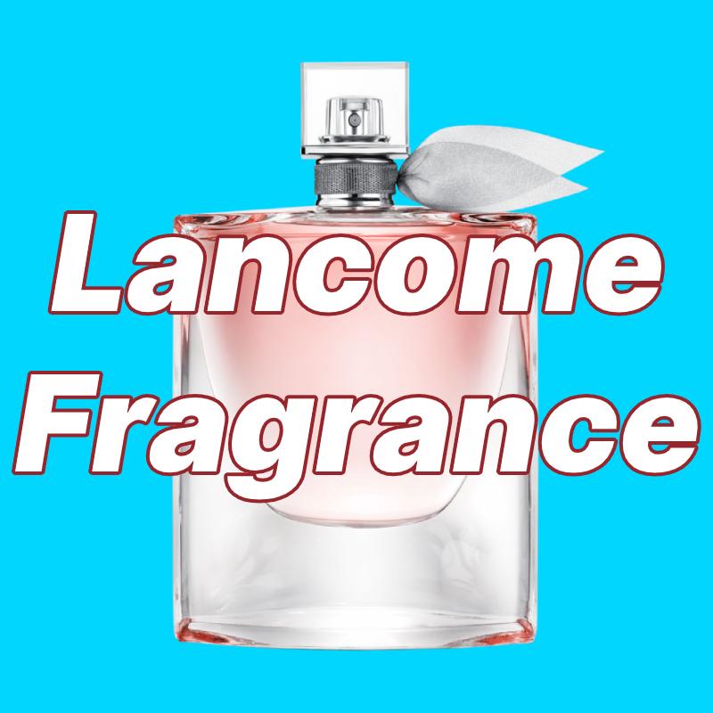 Lancome la vie est belle bottle with Lancome Fragrance text overlay
