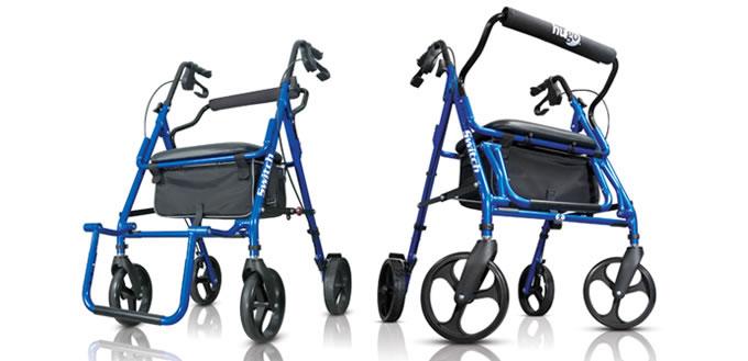 walker transport chair in one hugo navigator office swivel switch rolling mobility