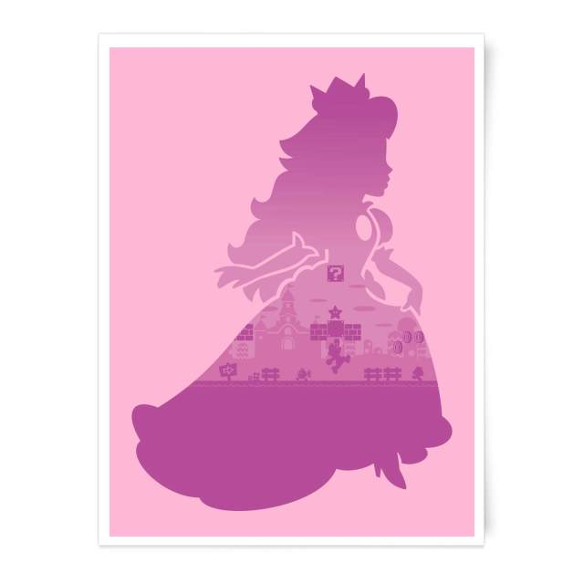 poster art print super mario peach