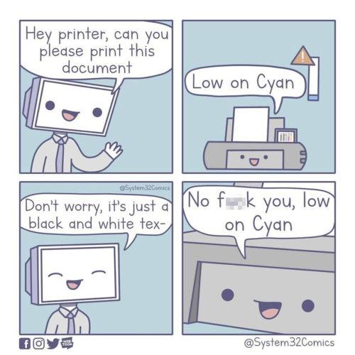meme imprimante manque cartouche couleur system32