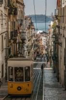 Trams climbing up the hill - Lisbon