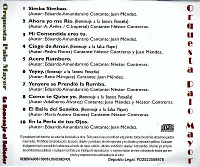 Orquesta Palo Mayor - En Homenaje Al Bailador (back cover)