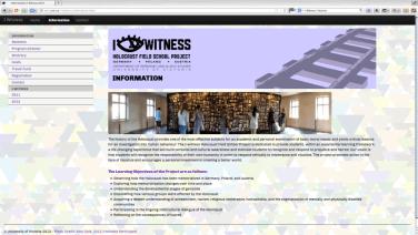 Concepto y diseño gráfico del Programa de Estudios para I Witness en Victoria BC Canadá. Sitio web e impresos. Realizado en HTML. http://web.uvic.ca/~iwitness/