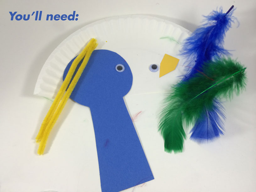 Toddler Craft - Paper Plate Bird Supplies by Hugs are Fun