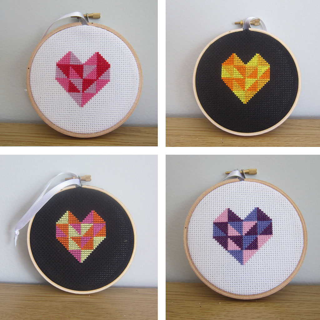Geometric Heart Cross Stitches by Hugs are Fun