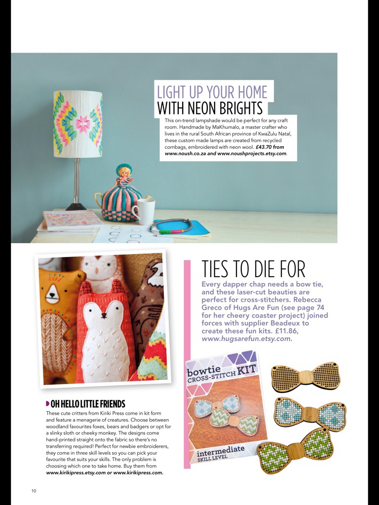 Laser Cut Cross Stitch Kits by Hugs are Fun in Hoop-La Magazine