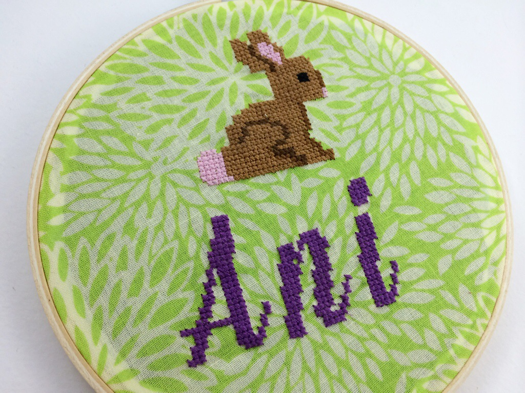Cross Stitched Name Hoops by Hugs are Fun