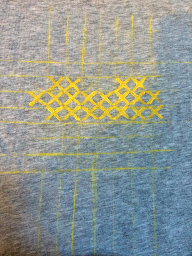 Cross Stitch Hand Stamped T-Shirt! by Hugs are Fun