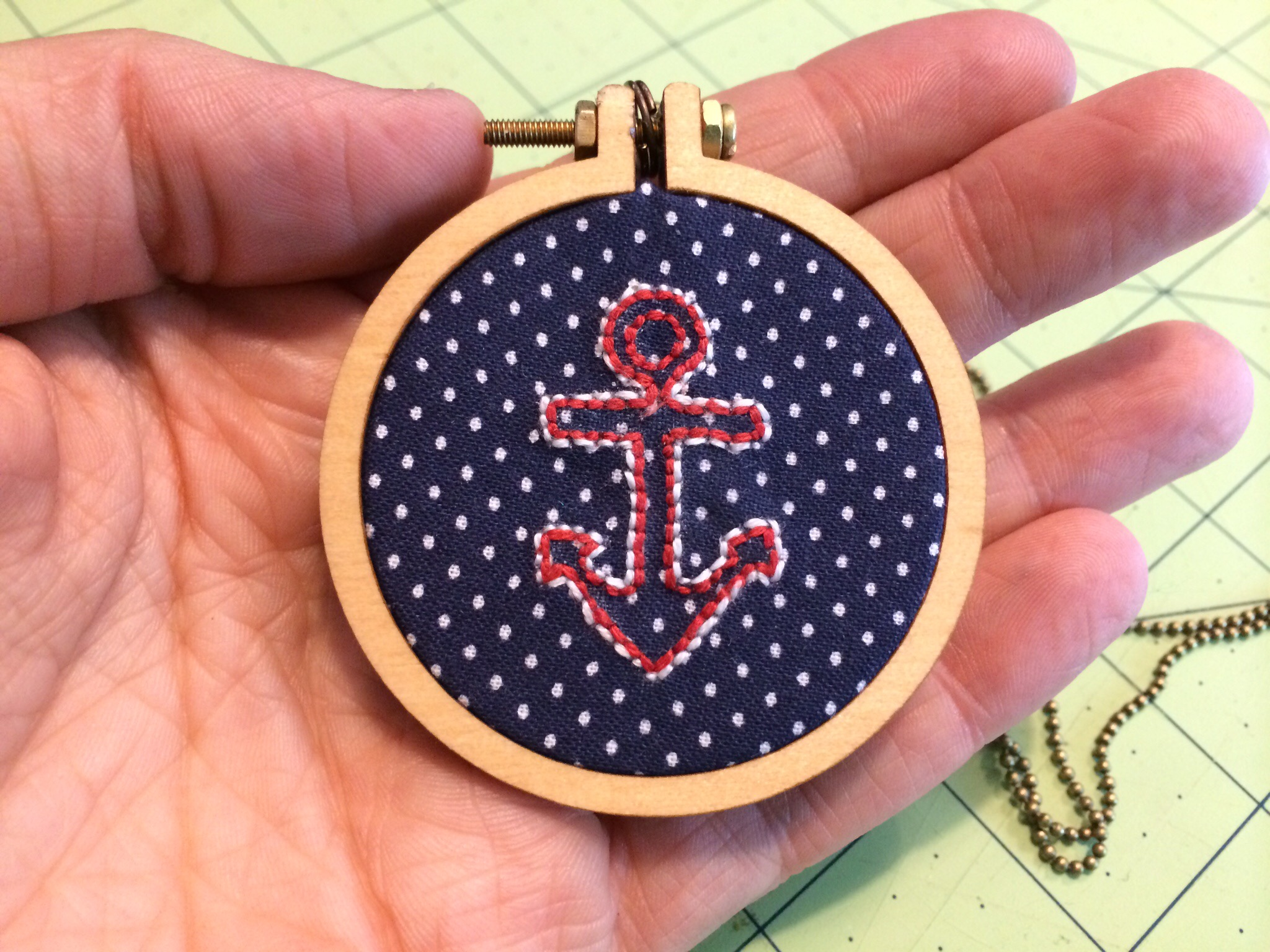 Vintage Anchor Embroidery Hoop Necklace from Hugs are Fun