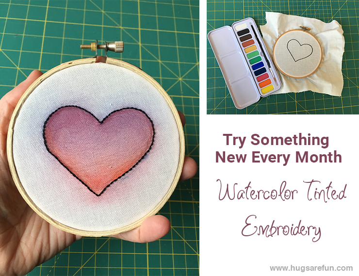 March TSNEM - Watercolor Tinted Embroidery from Hugs are Fun