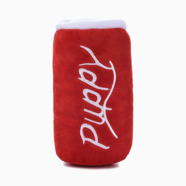 red soda can dog toy