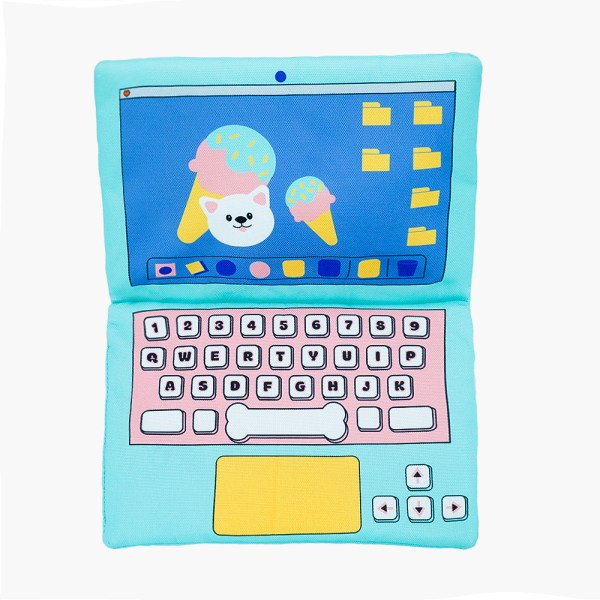 a blue laptop with pink keyborad and an ice cream on the screen bark to school laptop dog toy