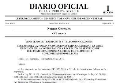 Se publica reglamento de Ley de Ductos de Telecomunicaciones