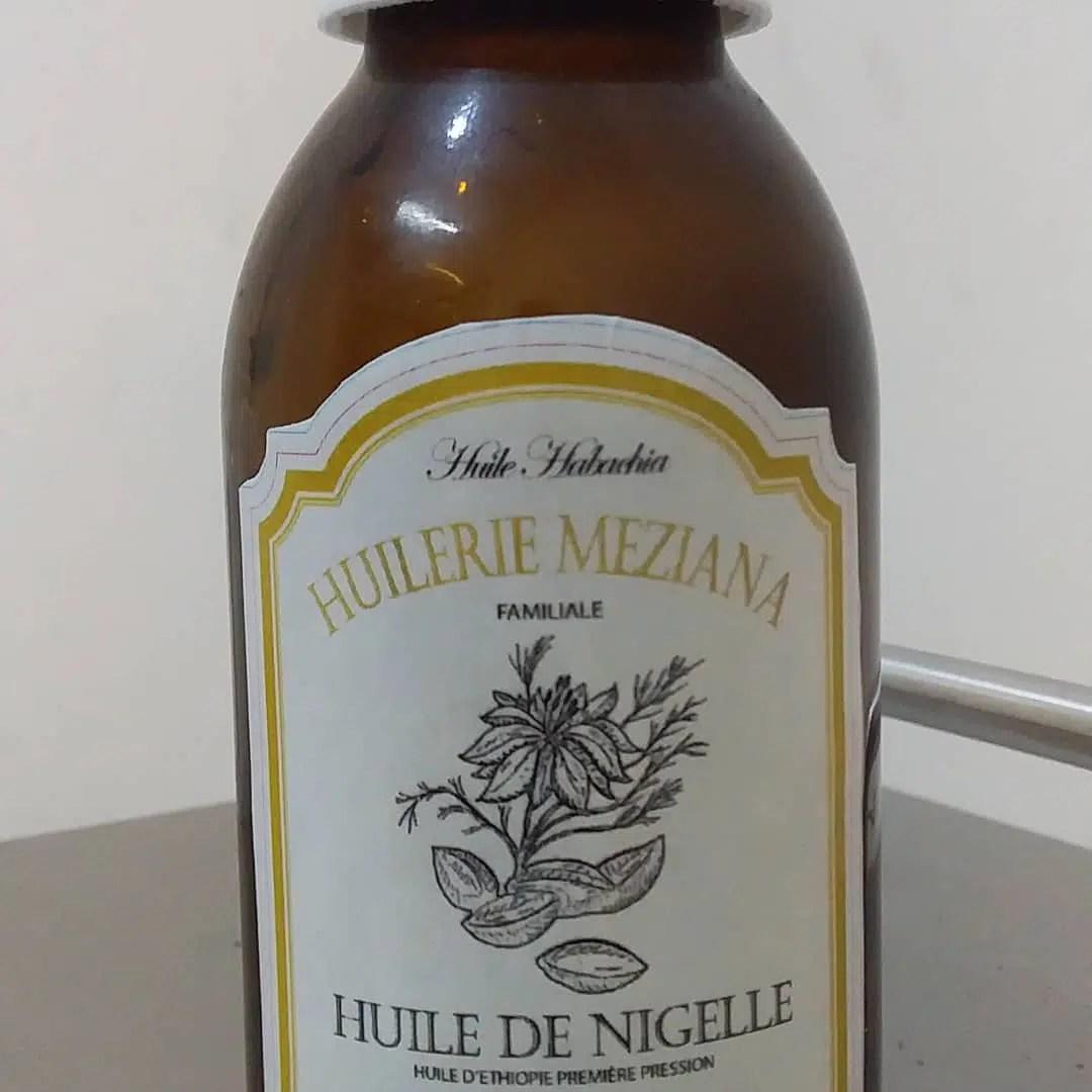 La maquette de notre étiquette d'huile de nigelle