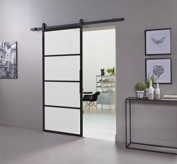 DIY-schuifdeur Cubo zwart inclusief mat glas, afmeting deur 2150x980x28mm + zwart ophangsysteem type Basic