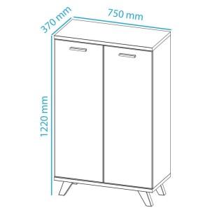 Kast COSMOS 2 deuren 122 cm wit/sanremo