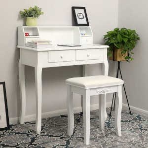 Make-uptafel/bureau Juline - wit