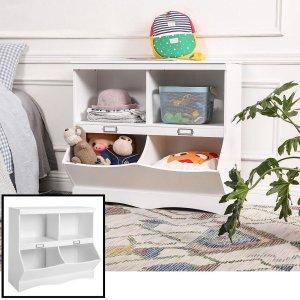 Decopatent® Speelgoed Kast - Boekenkast - Opbergkast van hout voor kinderkamer - Kinderkamer Boekenrek - Open opberg kast - Wit