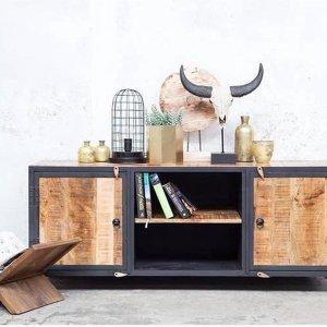 TV Meubel Zwart & Bruin - Hout & Metaal - 150x45x60cm - Tv-meubel Nori Klein - Giga Meubel