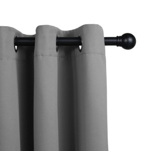 LIFA LIVING Verduisterende Gordijnen, Zilver Grijs Polyester Gordijn, Modern Geluidswerend Gordijn met Ringen voor Woonkamer, Slaapkamer, 300 x 250 cm