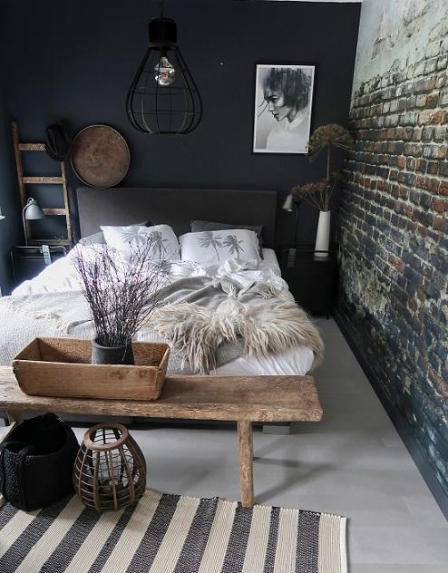 Slaapkamer modern landelijk beddengoed dekbedovertrek palmbomen