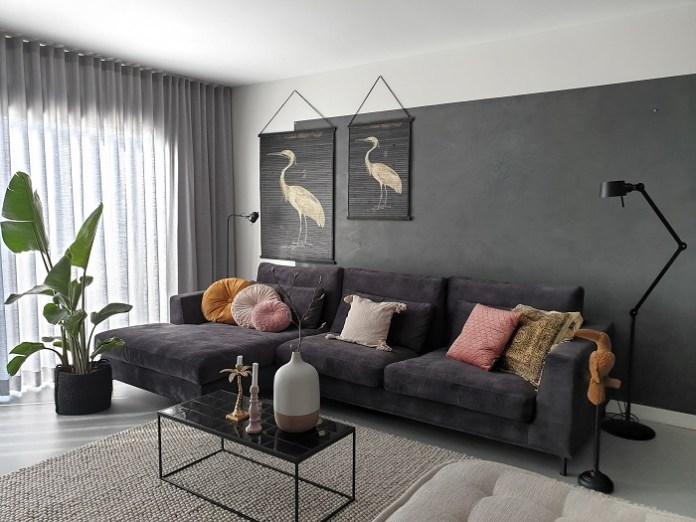loungebank zwart velours interieurblog