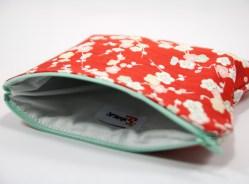 Pochette zippée japonaise fleurie rouge