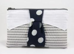 Pochette cravate grise et bleue