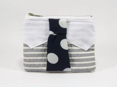 Porte-monnaie cravate gris et bleu