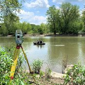 Hulbert's Land Surveyors working on the Susquehanna River
