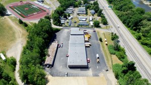 aerial view of a school bus garage - aerial-view-of-a-school-bus-garage