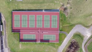 aerial view of a tennis court - aerial-view-of-a-tennis-court
