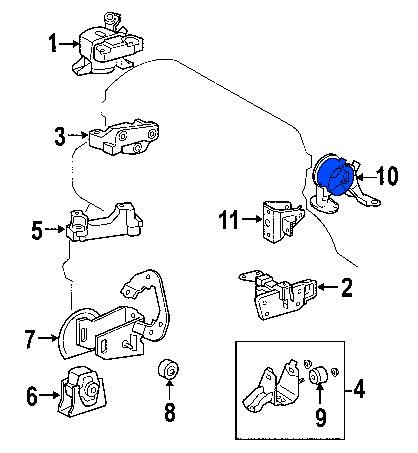 Soporte de Motor Repuesto Trasero Toyota Rav4 2006