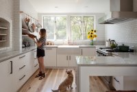 White Kitchens with Warm Wood Tone Wood Floors
