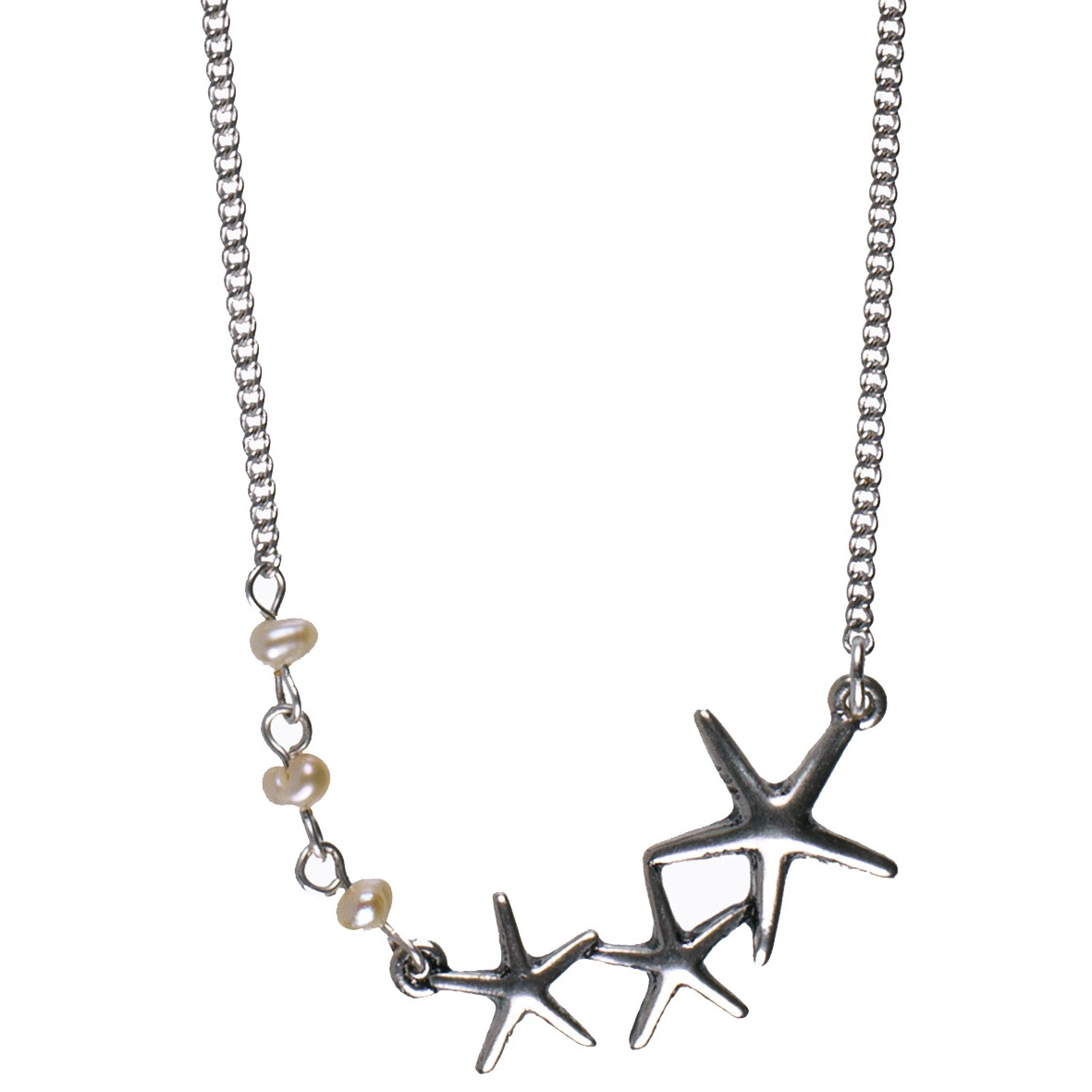 Hultquist Starfish Amp Pearl Necklace Silver