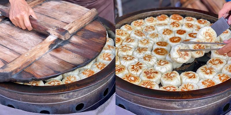 台南美食 「無名水煎包」 兩面煎炙酥脆的飽滿水煎包!超人氣銅板美食,太慢來就等下一鍋!台式下午茶。|裕農路|後甲圓環|